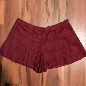 Forever 21 Maroon Lace Shorts